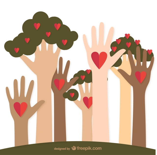 Charity helping hands and trees